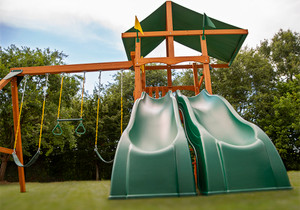 Extreme shot of Passage II w/ Dual Slide Swingset from Playnation
