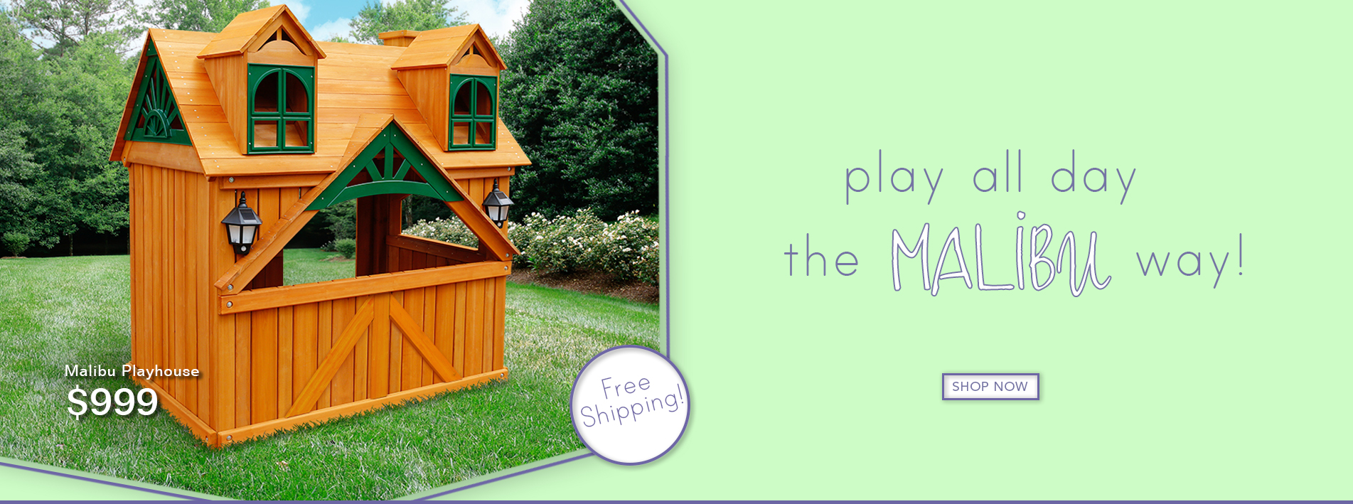 Make backyard memories for your kids with hours of fun in the Malibu Playhouse. Now with free shipping!
