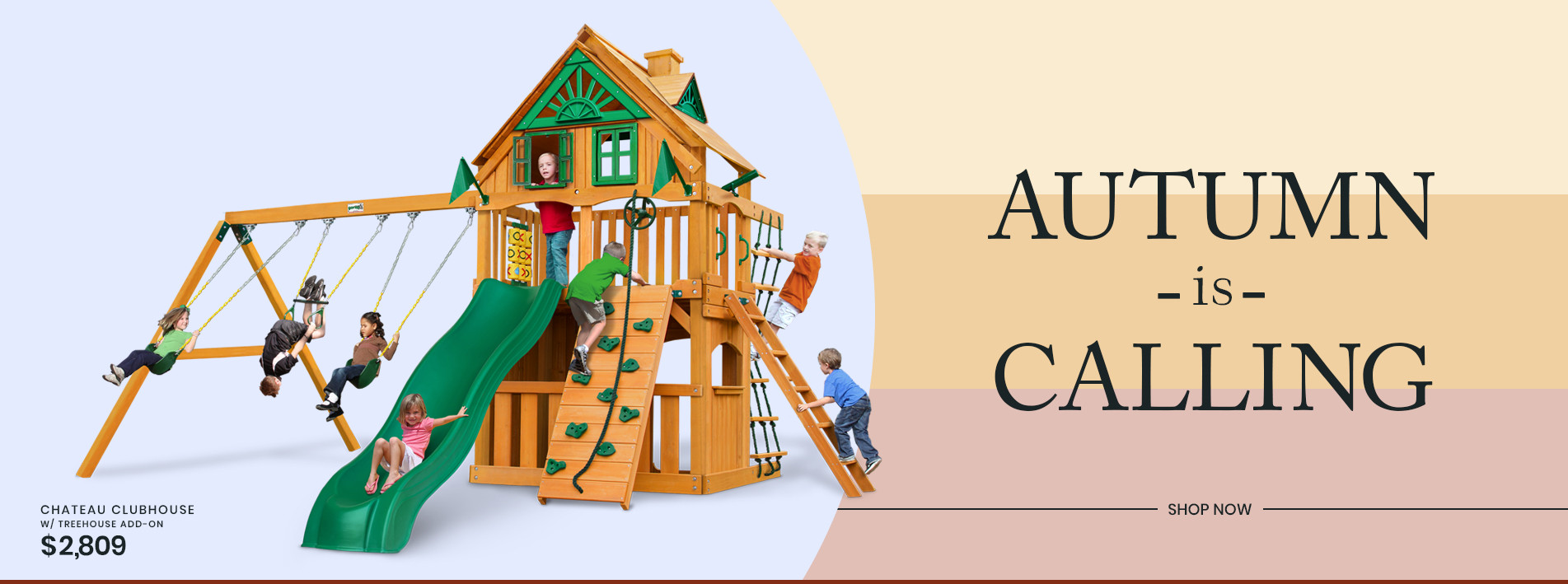 Another Summer is on its way out. Purchase your new PlayNation swing set just in time for Autumn.