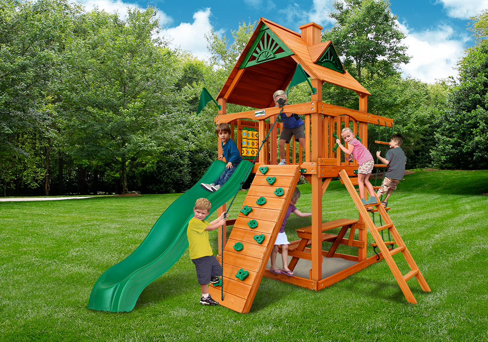 Outside front view of Chateau Tower Play Set from Playnation