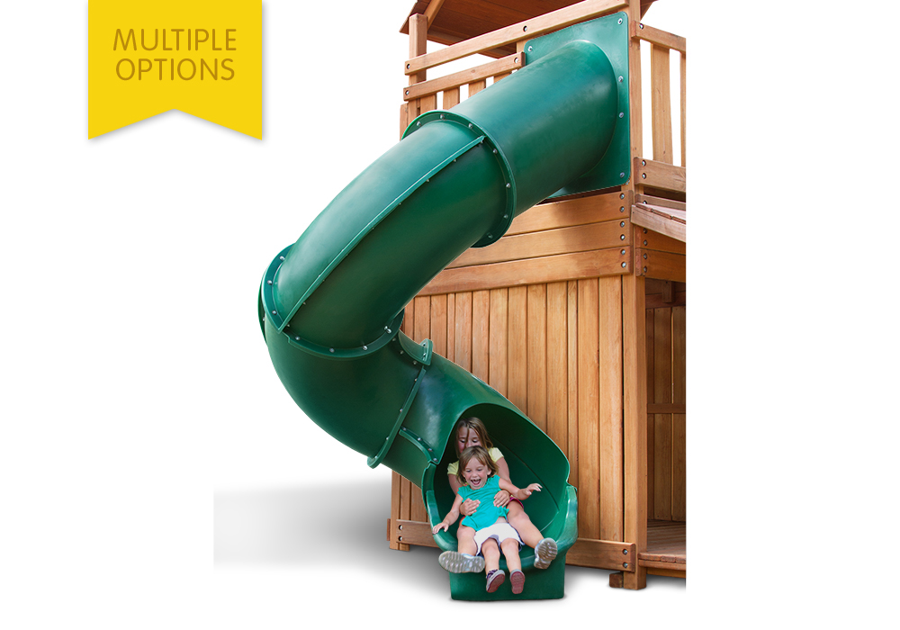 Studio shot of Green Super Tube Slide from PlayNation Play Systems.