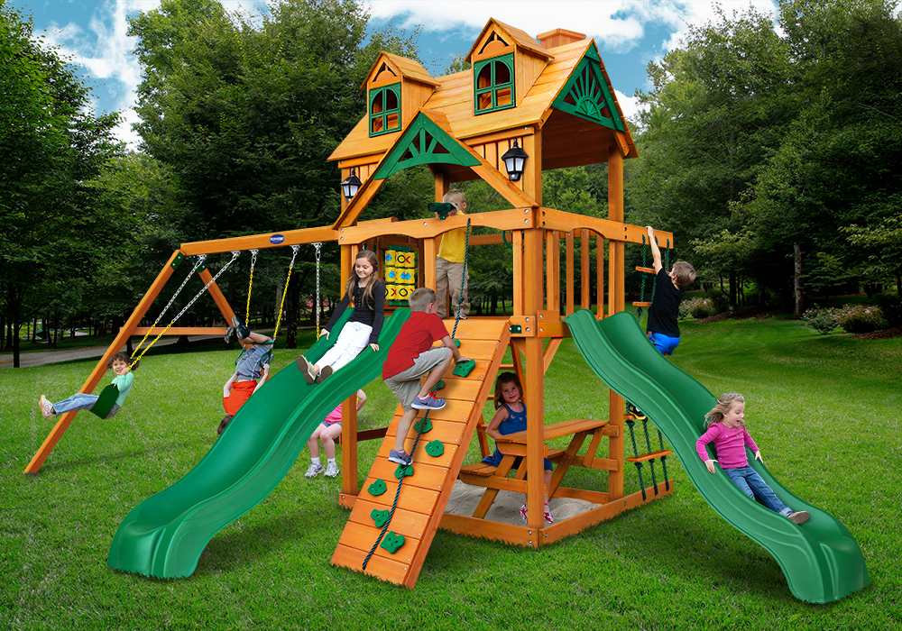 Lifestyle front view of Riviera Dueller Swing Set from PlayNation