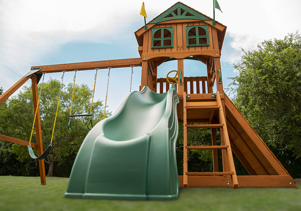 Extreme shot of Passage II Deluxe Play Set and Alpine Wave Slide from Playnation