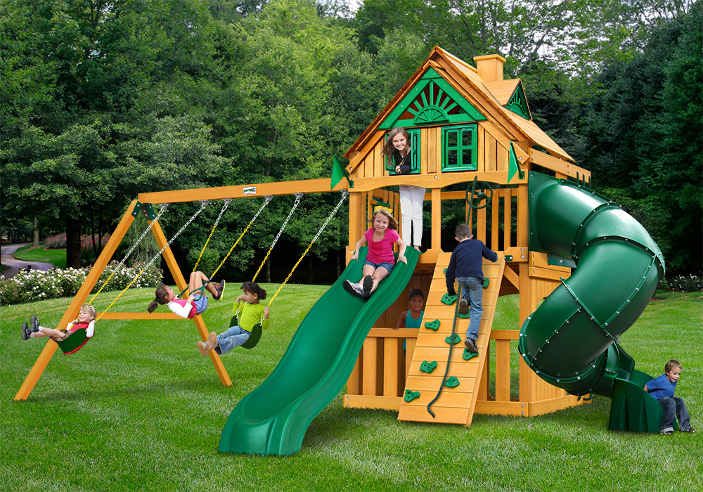 Outdoor front view of Mountaineer Clubhouse Play Set from Playnation