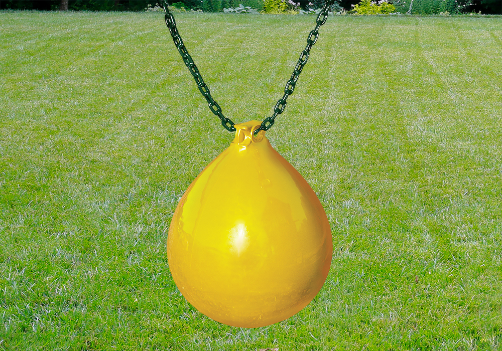 Outdoor shot of yellow Buoy Ball w/ Chain and Spring Clips from PlayNation.