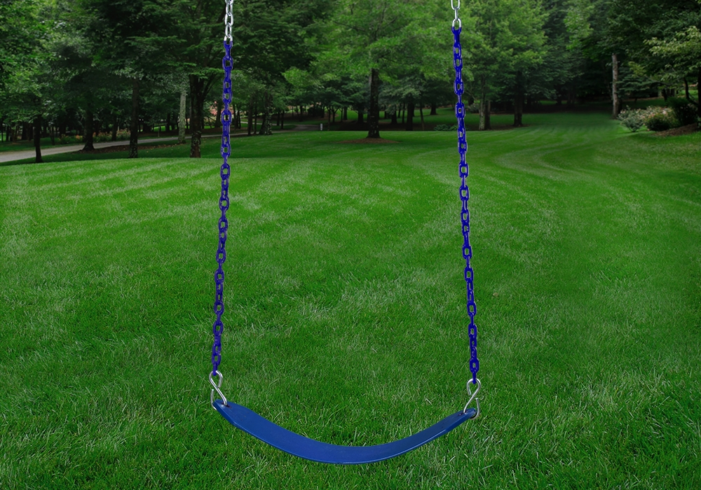Outdoor shot of blue Deluxe Swing Belt from PlayNation.