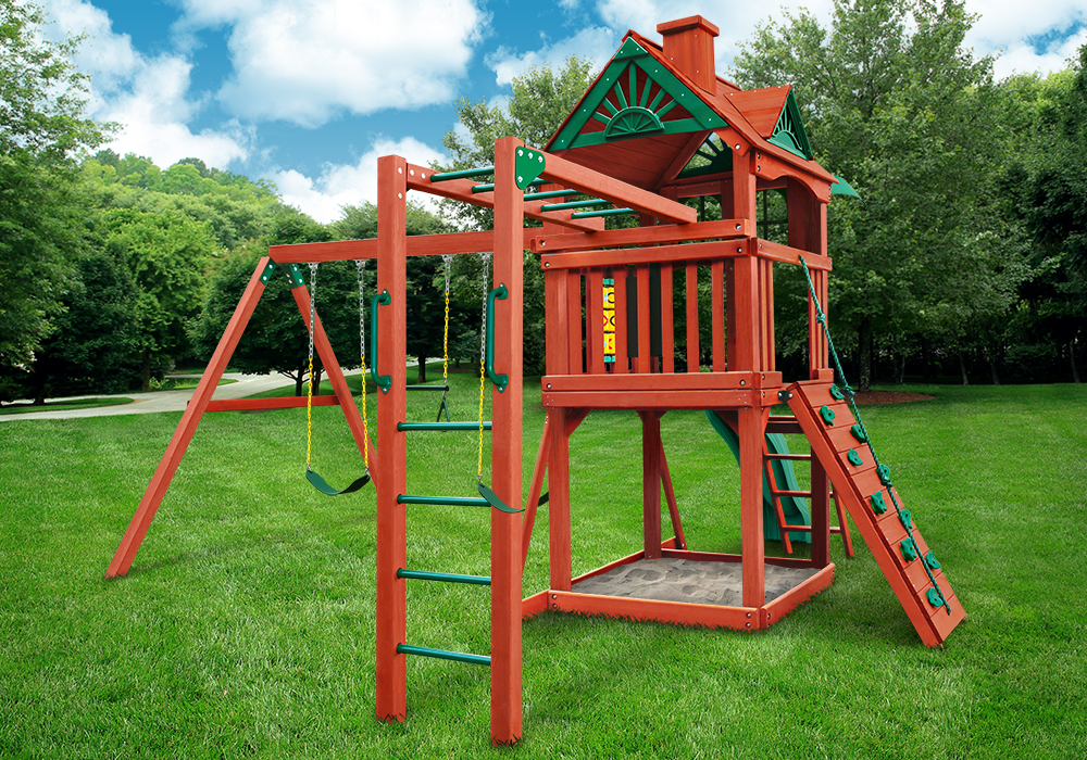 Rear shot of Redbrook Play Set from Playnation