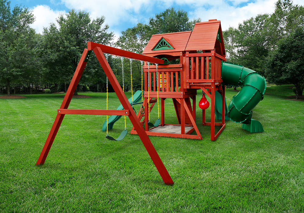 Outdoor Profile view of the Redbrook Deluxe Swing Set from Playnation