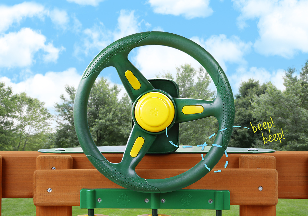 Outdoor front view of Rally Racing Wheel with working horn from PlayNation.