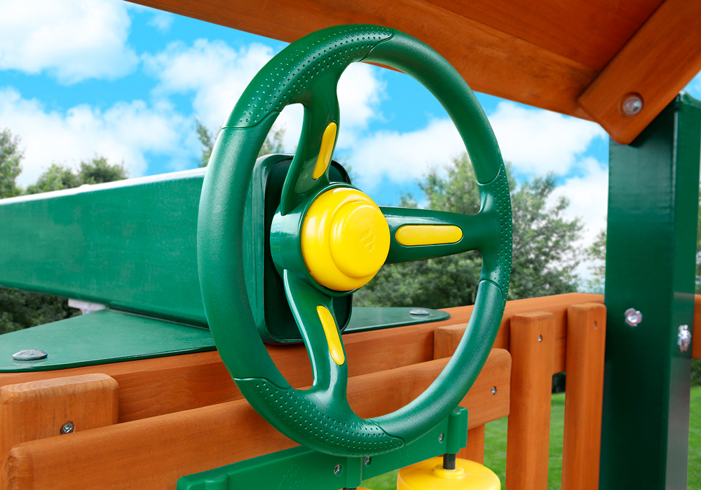 Outdoor side view of Rally Racing Wheel with working horn from PlayNation.