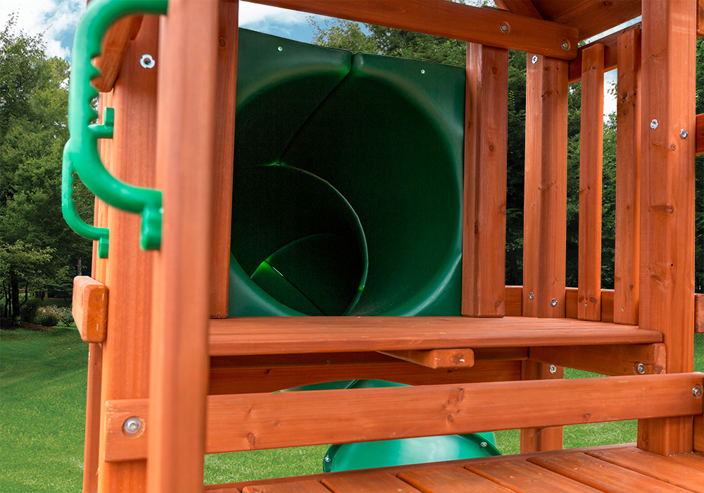 Tube Slide view of Calypso Deluxe Play Set from Playnation play systems.