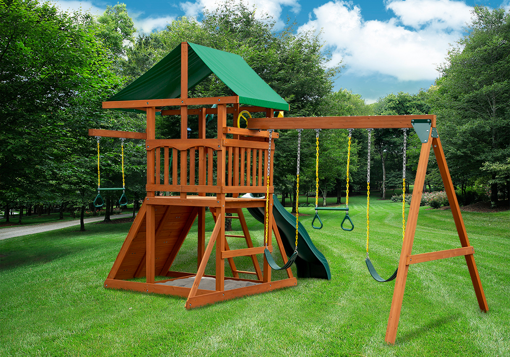 Rear outdoor shot of Passage II w/ Trapeze Bar Swing Set from Playnation