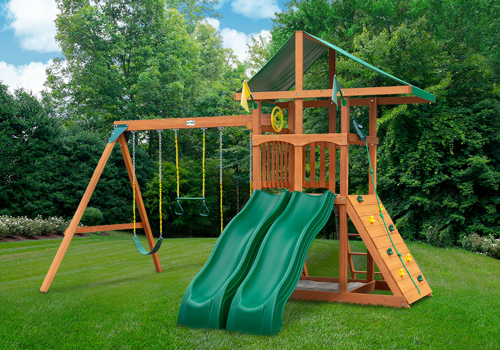 Outside view of Outing w/ Dual Slide Swingset from Playnation
