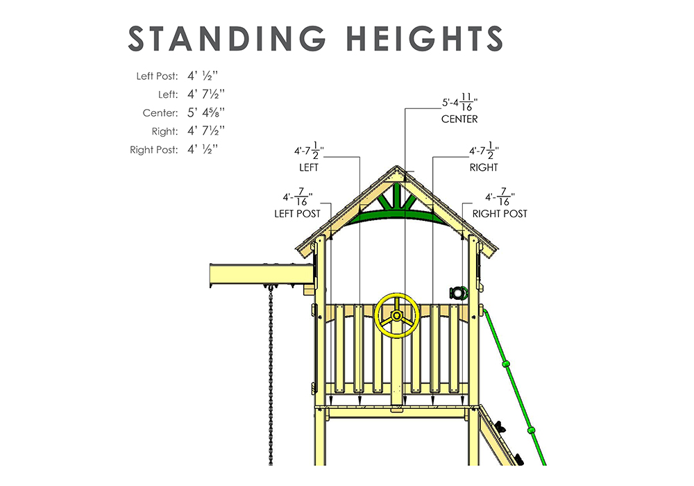 Wood Roof Standing Heights View of Outing II w/ Tube Slide Swingset from Playnation