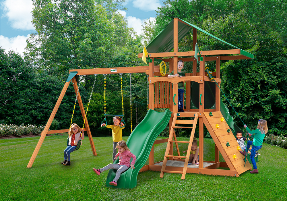 Outside view of Outing II w/ Tube Slide Swingset from Playnation