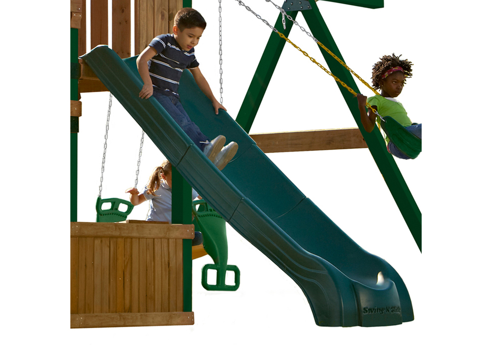 Lifestyle shot of Green Super Summit Slide from PlayNation Play Systems