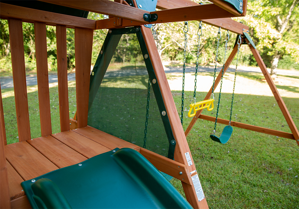 Play Deck with Mesh cover and Wave Slide for the Ranger Plus play set from PlayNation Play Systems.