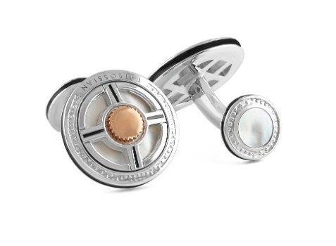 Sterling Silver Rhodium-plated with MOP /& Black Enamel Cuff Links