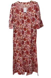 Ruffle Hem Dress, Autumn Chintz