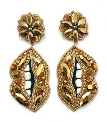Gold Jeweled Lip Earrings
