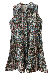 Sleeveless Mini Shirtdress, Spring Garden