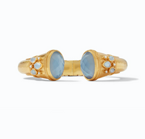 Cassis Hinge cuff gold iridescent chalcedony blue with pearl accent