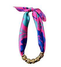 Scarf Bone Necklace, Pink Blue