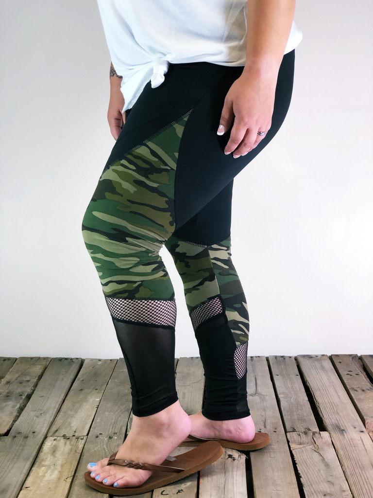 Plus Size Activewear- Black And Camo