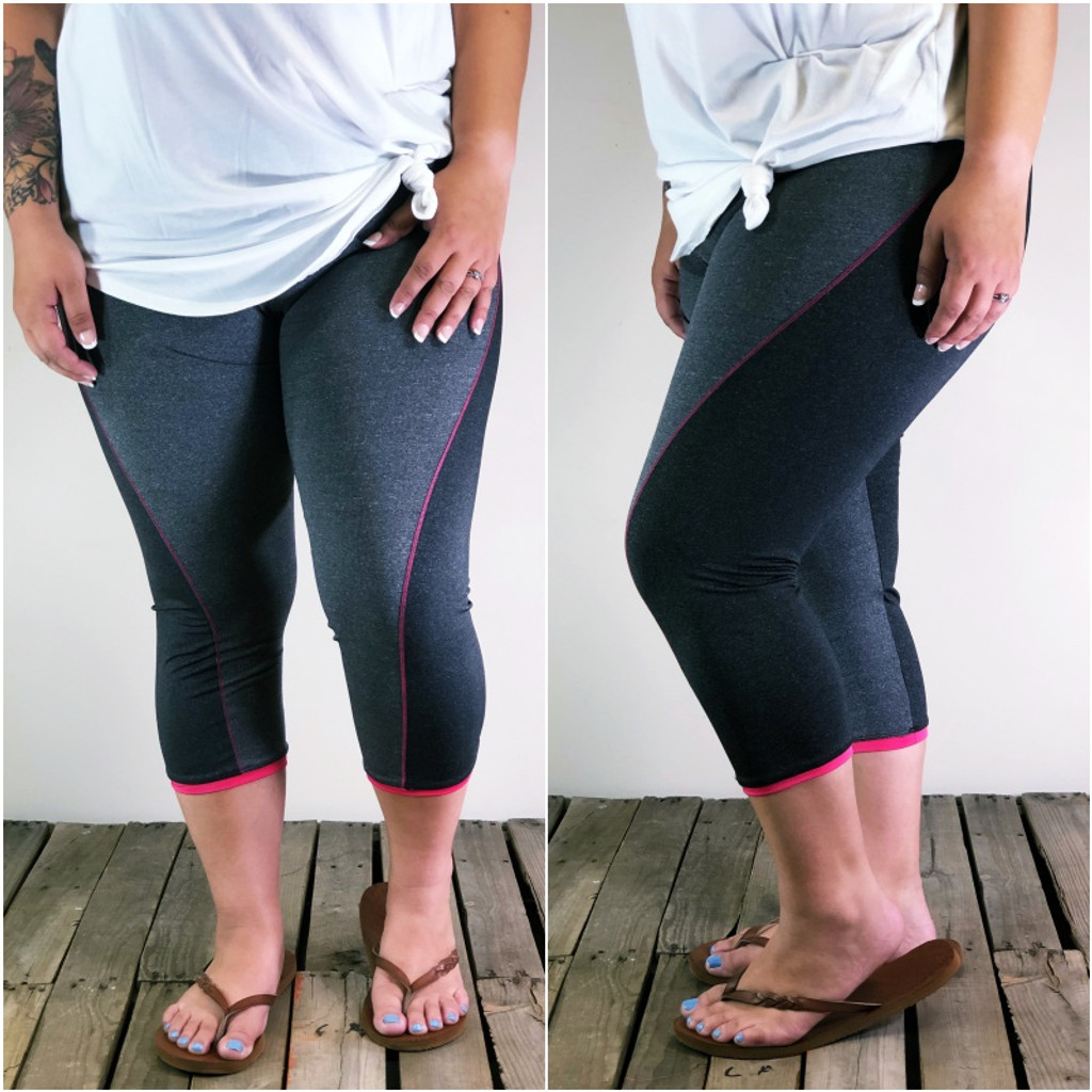Plus Size Activewear- Charcoal And Pink