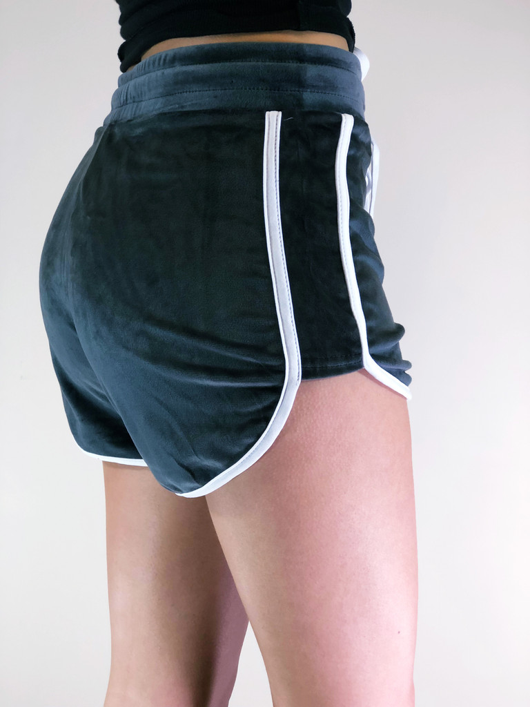 Velour Shorts- Charcoal