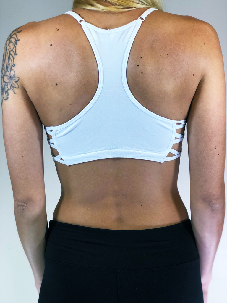 Racerback Sports Bra- White
