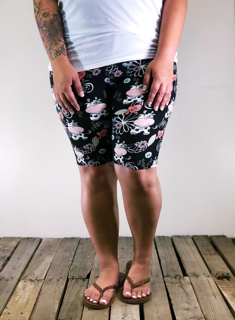 Plus Size Bike Shorts- Udderly Adorable