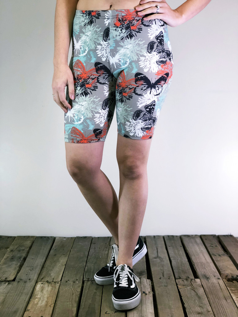 Plus Size Bike Shorts- Monarch Garden