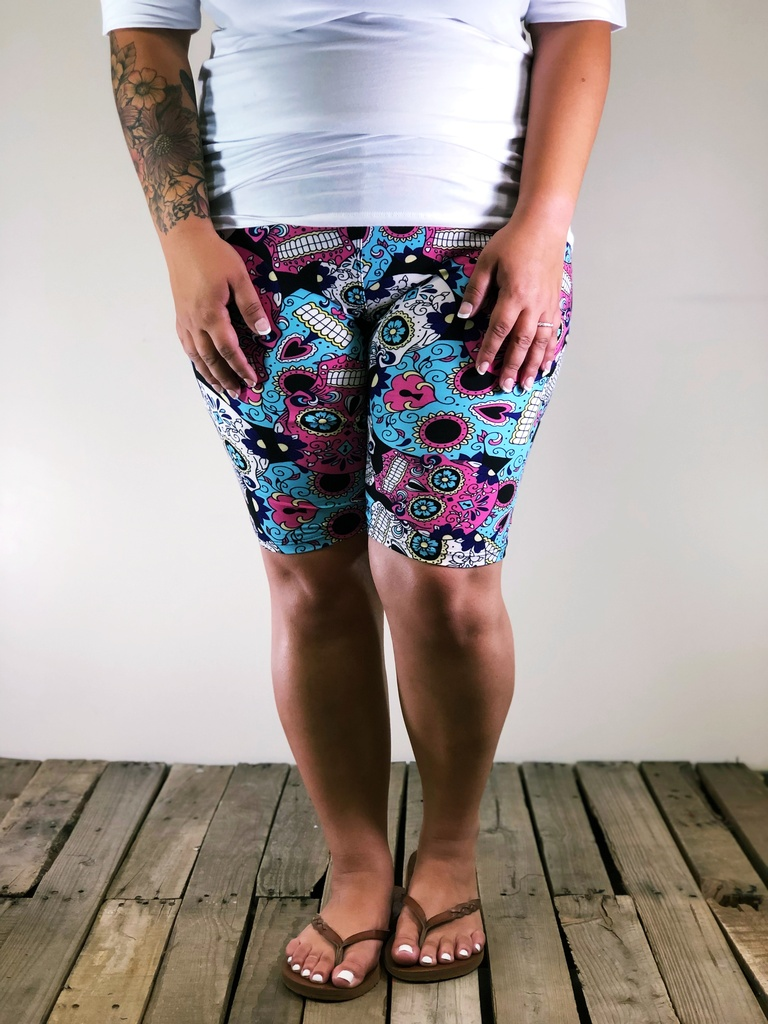 Plus Size Bike Shorts- Pastel Poison