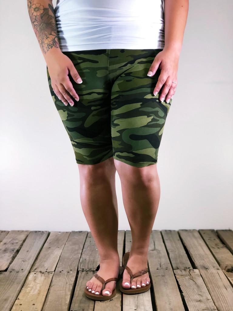 Plus Size Bike Shorts- OG Camo