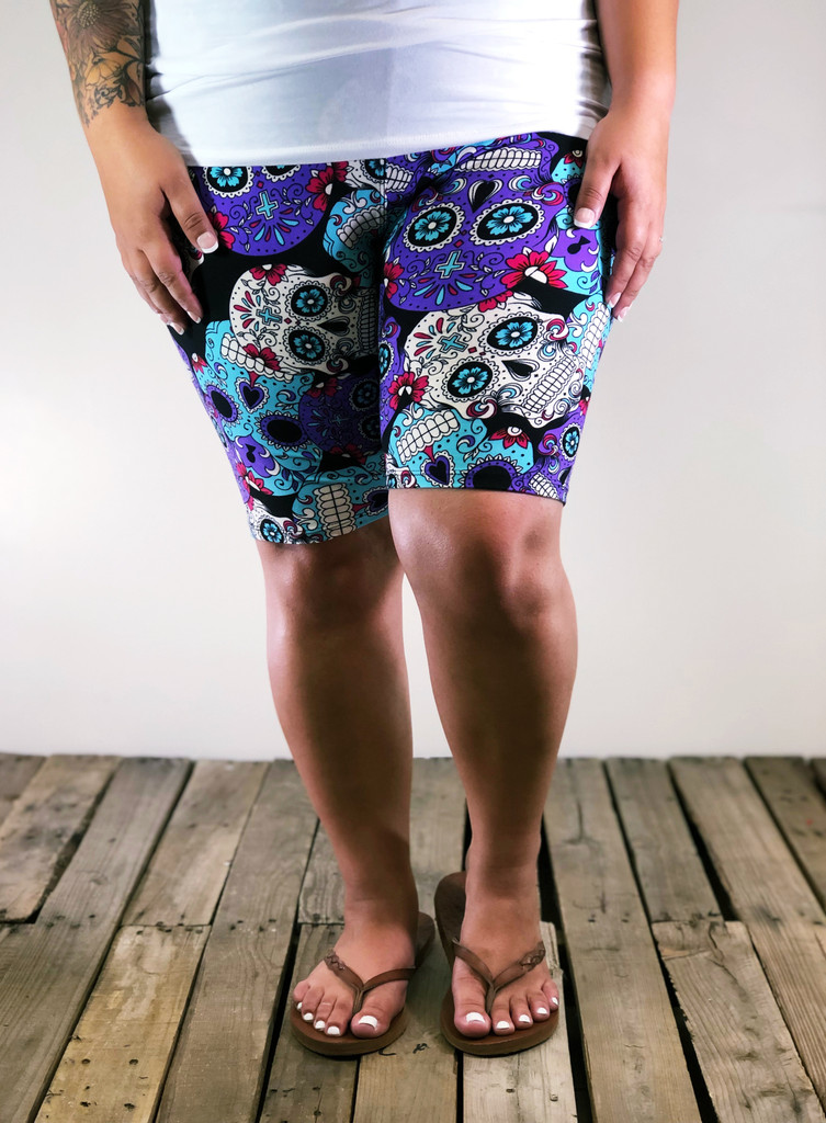Plus Size Bike Shorts- Day Of The Dead