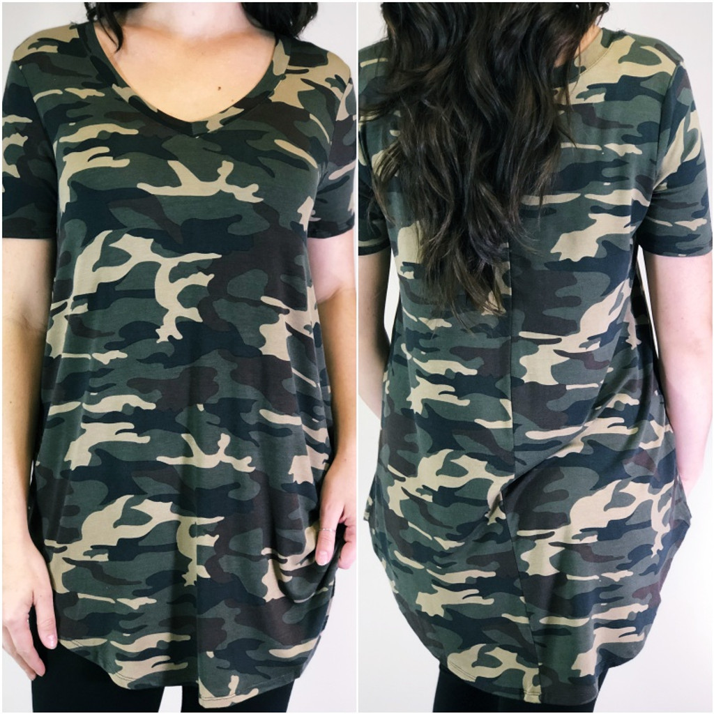 Short Sleeve V-neck- Dark Camouflage