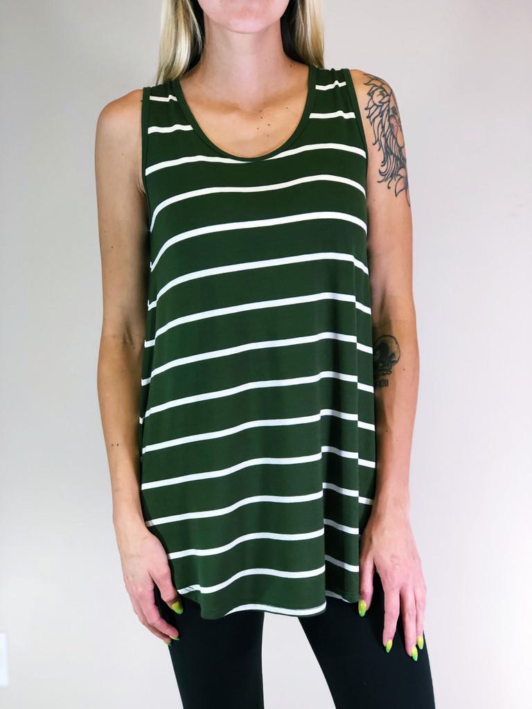 Stripe Tank Top- Army Green