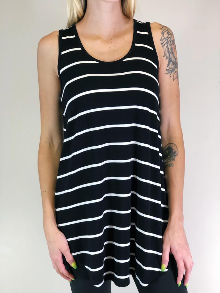 Stripe Tank Top- Black