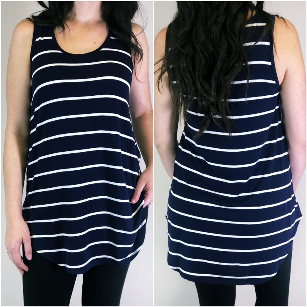 Stripe Tank Top- Navy