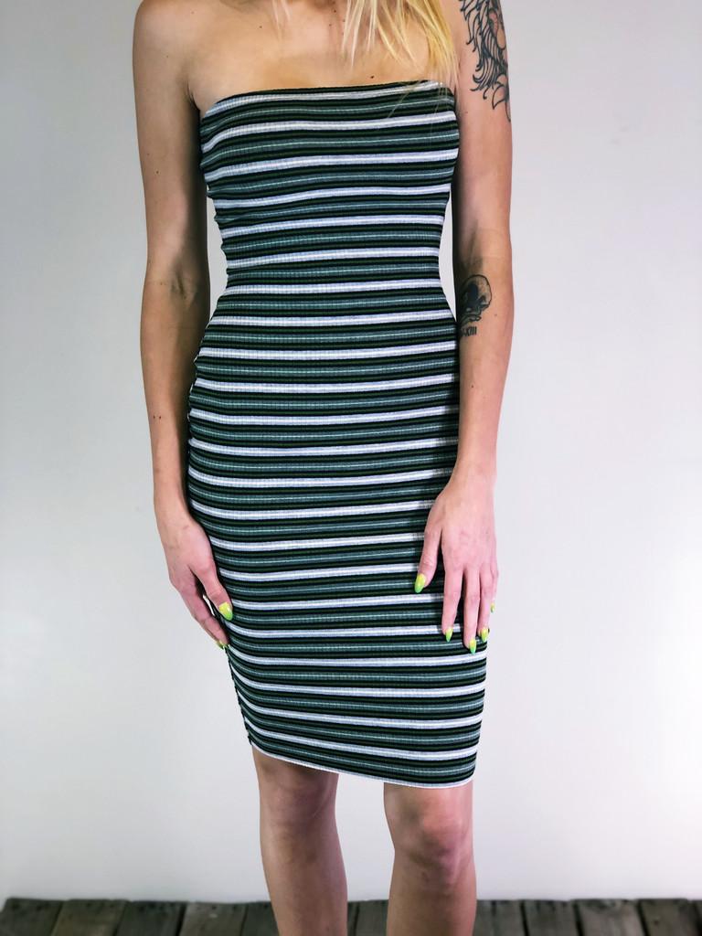 Strapless Body-Con Dress- Olive