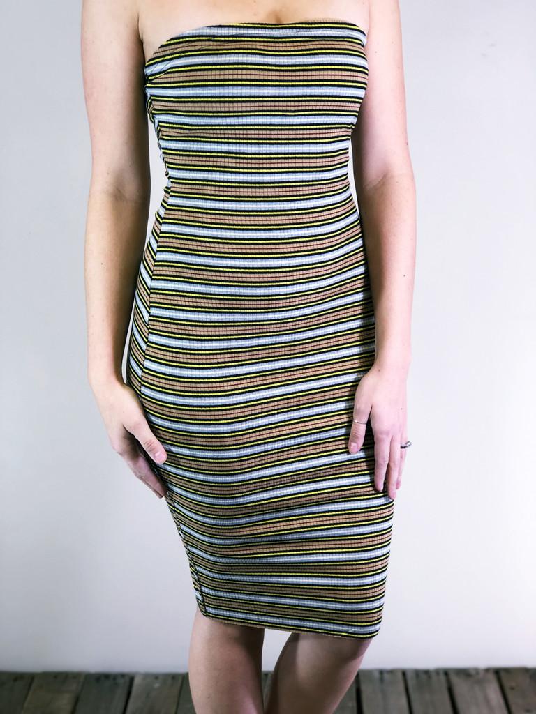 Strapless Body-Con Dress- Mustard