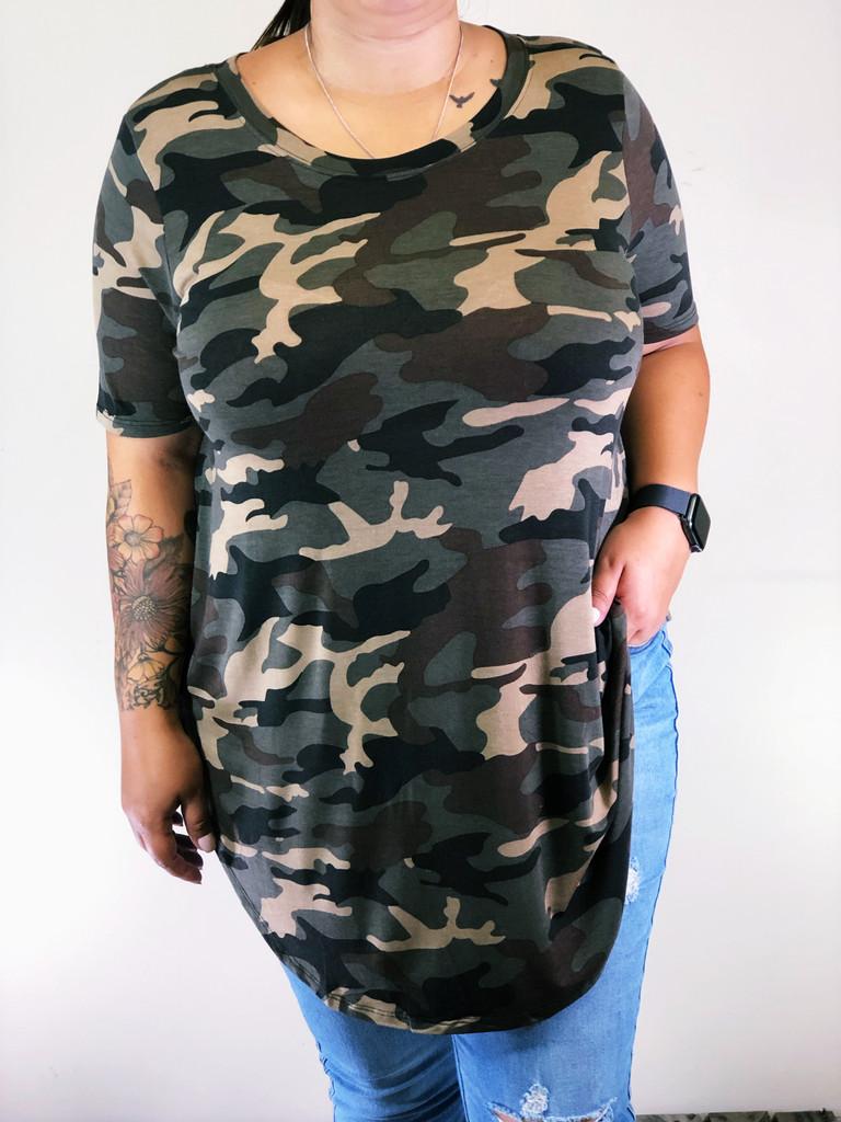 Plus Size Round Neck- Dark Camouflage