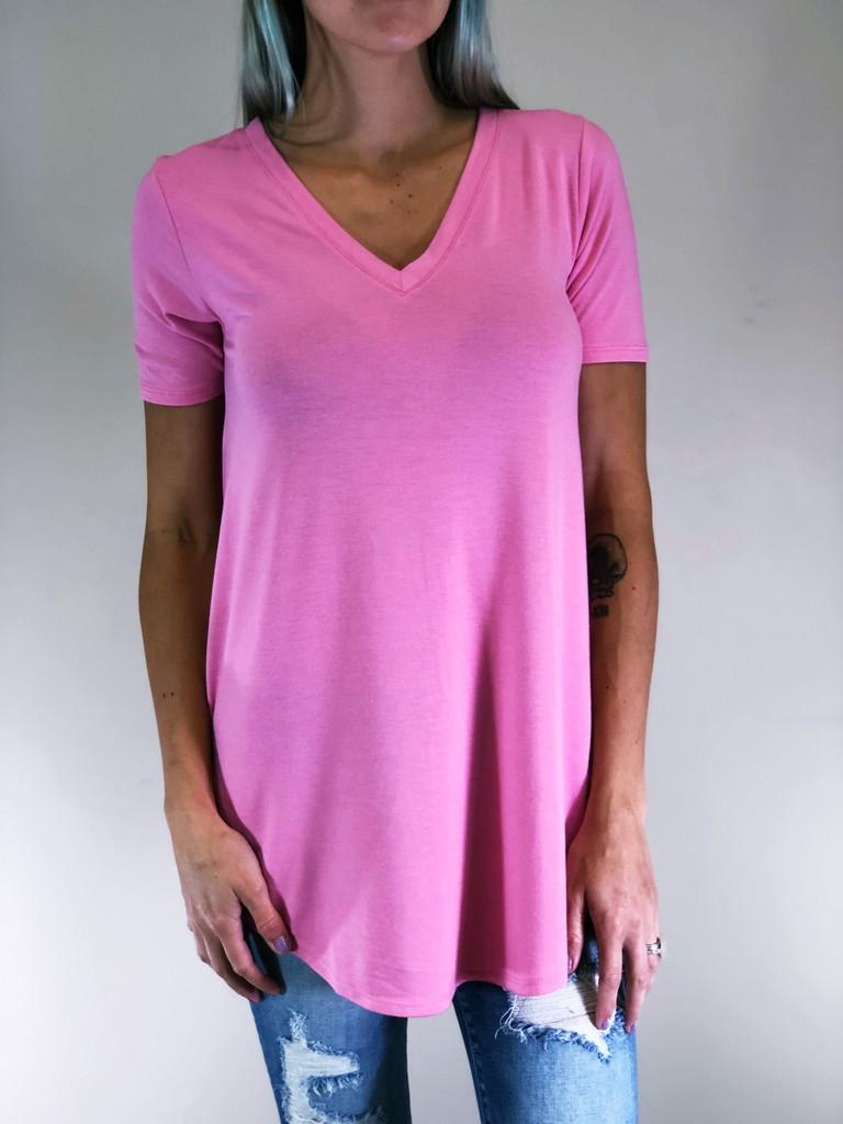 Short Sleeve V-Neck- Candy Pink