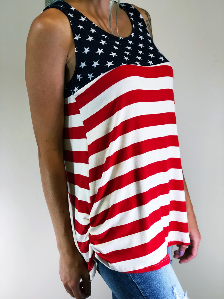 Plus Size- American Flag Tank Top