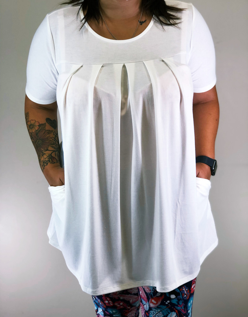 Plus Size Pleated Top- Ivory