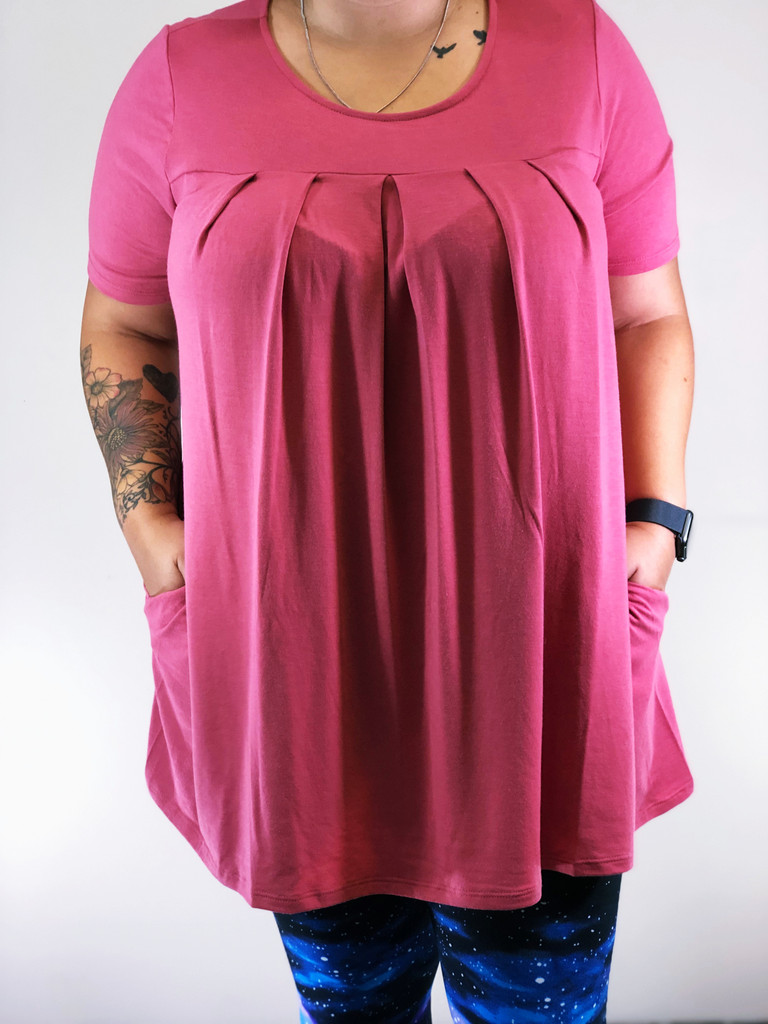Plus Size Pleated Top- Rose