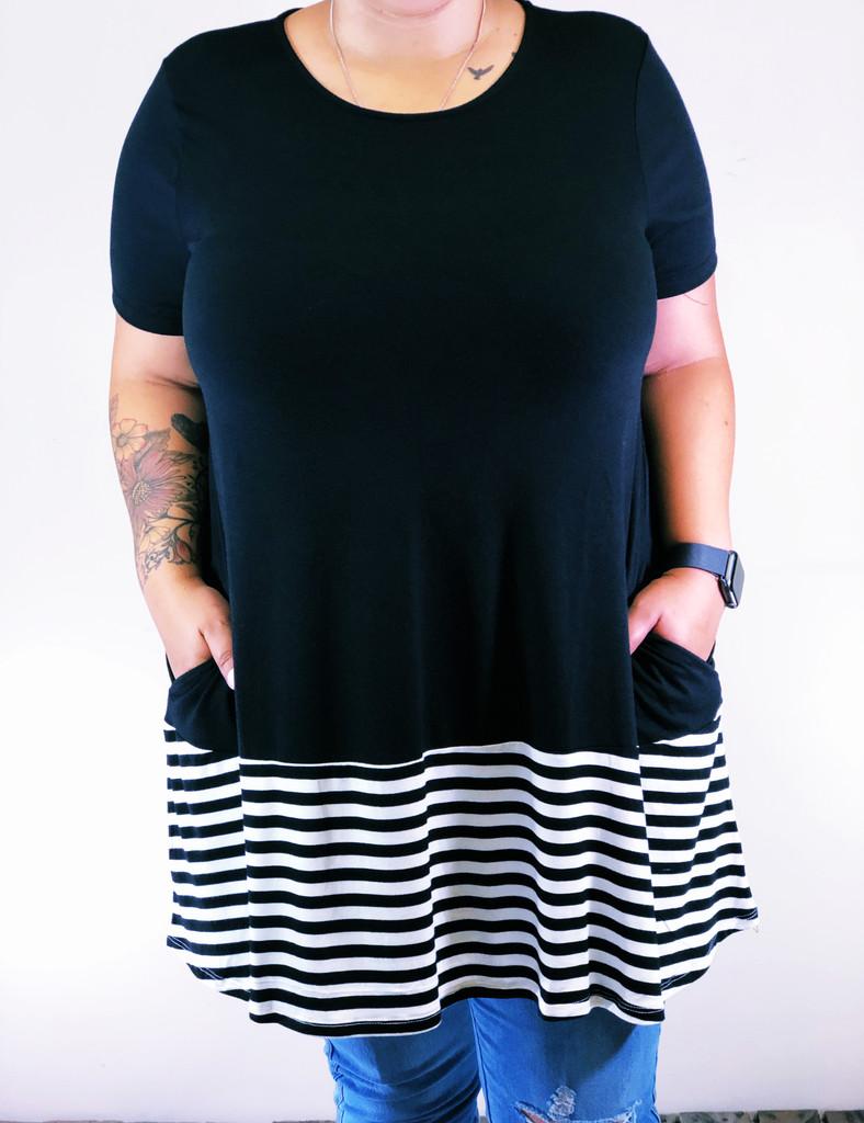 Plus Size Striped Top- Black