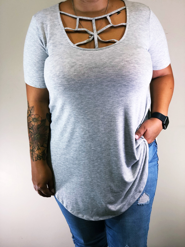 Plus Size Web Detail Top- Heather Grey