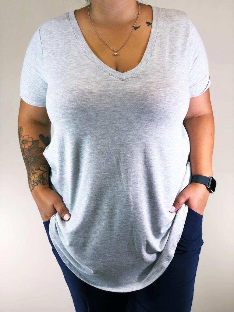 Plus Size Short Sleeve V-Neck- Heather Grey